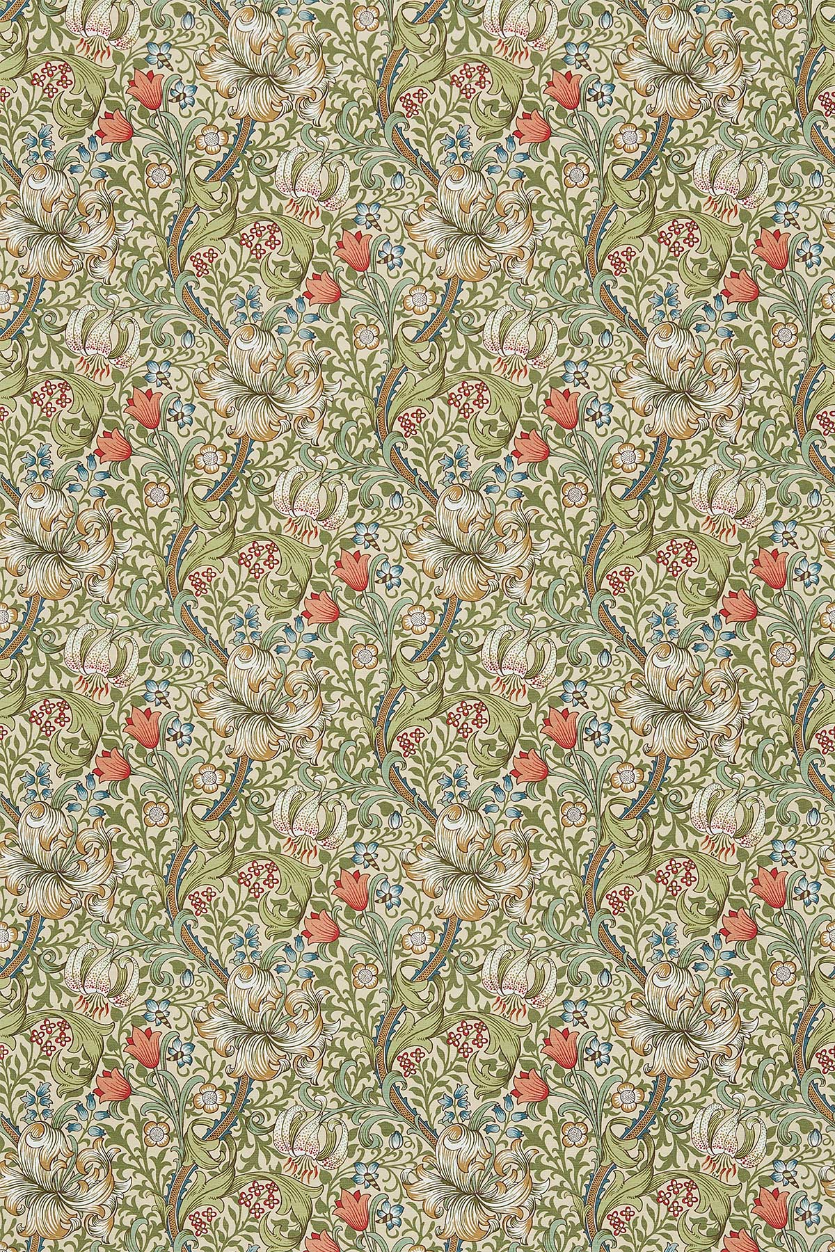 Golden Lily Fabric - Green / Gold - by Morris