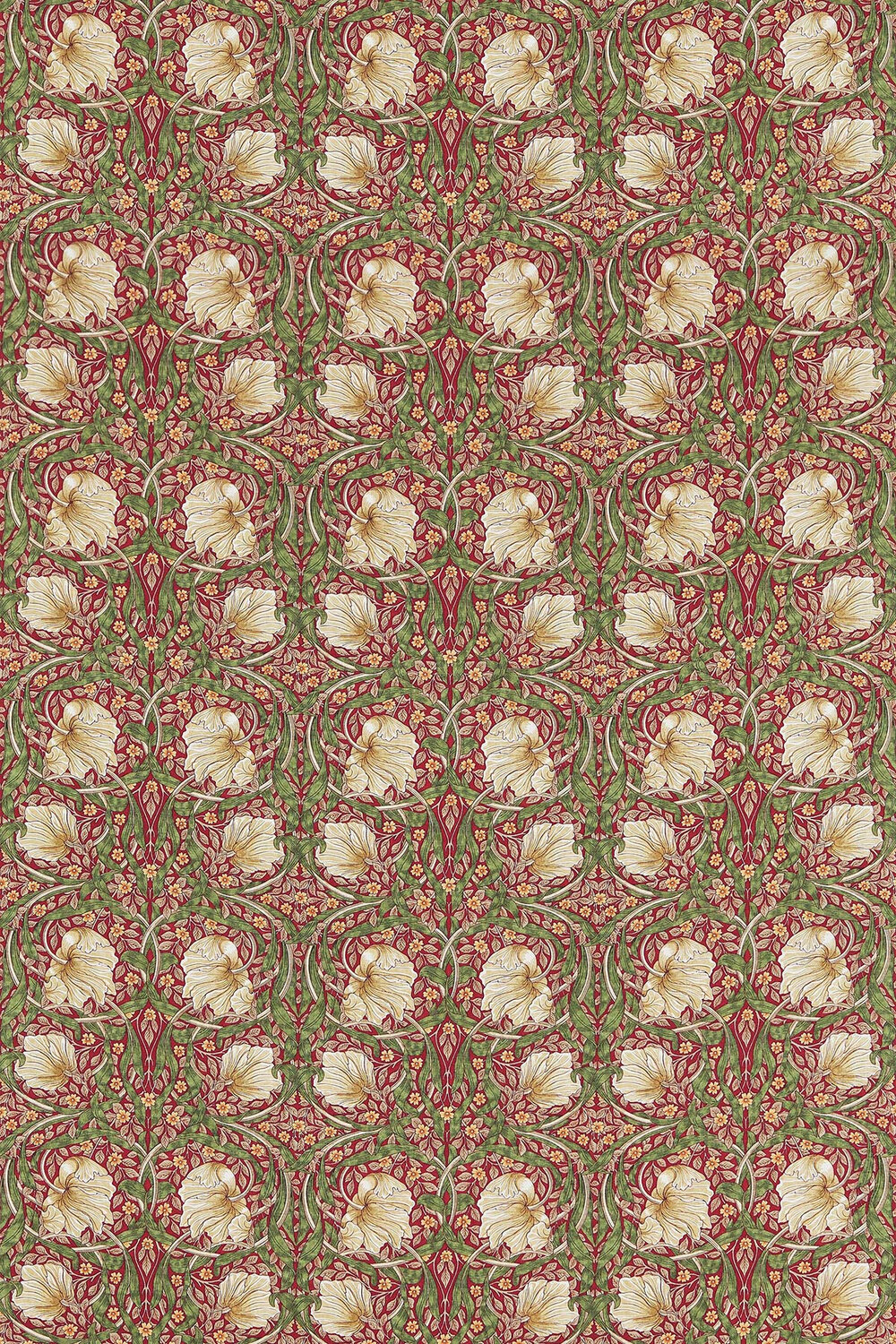 Pimpernel Fabric - Red / Thyme - by Morris