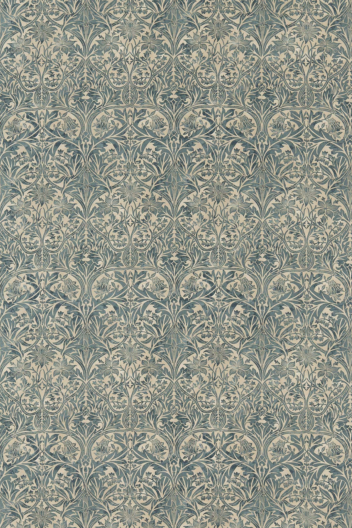 Bluebell Fabric - Seagreen / Vellum - by Morris