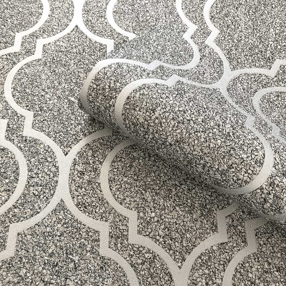 Massima Trellis Wallpaper - Silver - by Albany