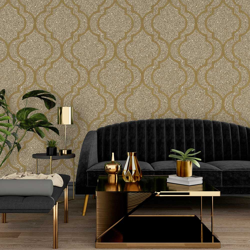 Massima Trellis Wallpaper - Gold - by Albany