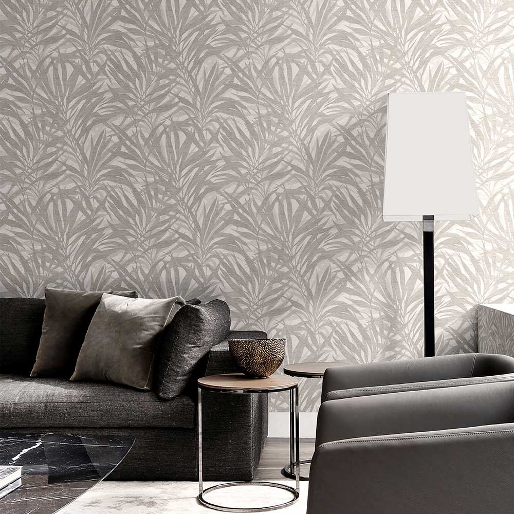 Luciano Palm Wallpaper - Silver - by Albany