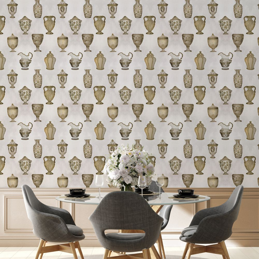 Porcelaine Wallpaper - Bronze - by Coordonne