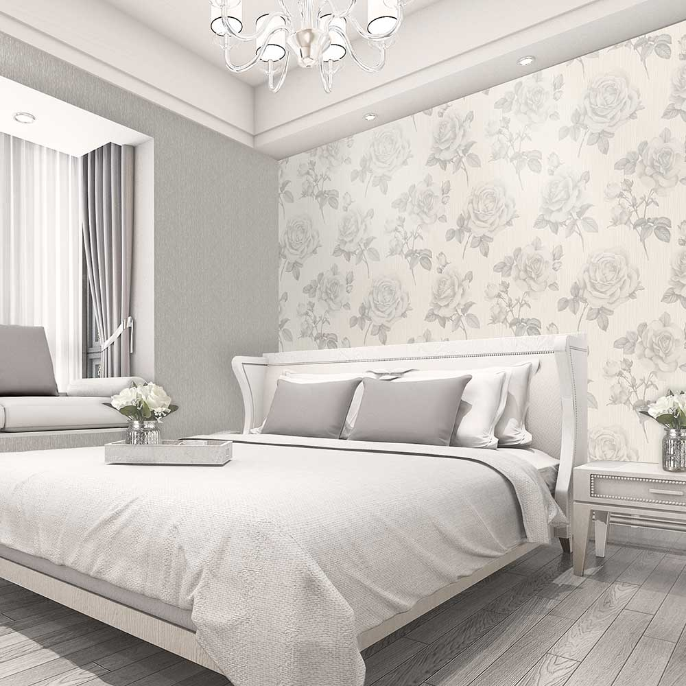 Amara Rose Wallpaper - Soft Silver - by Albany