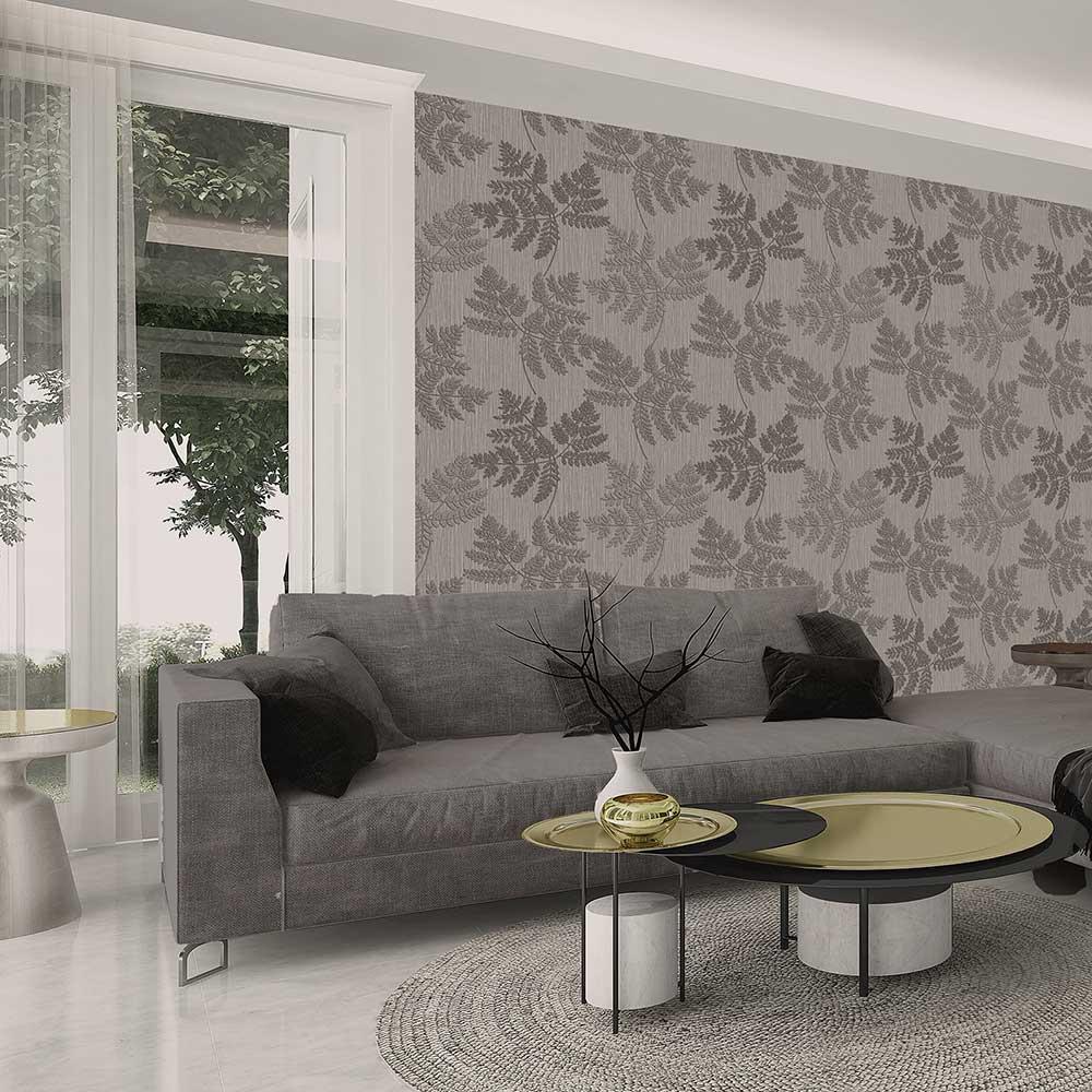 Amara Leaf Wallpaper - Gunmetal - by Albany