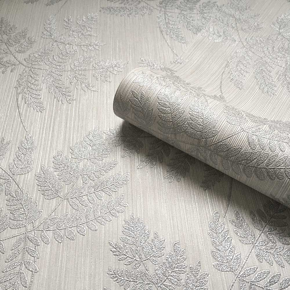 Amara Leaf Wallpaper - Soft Silver - by Albany