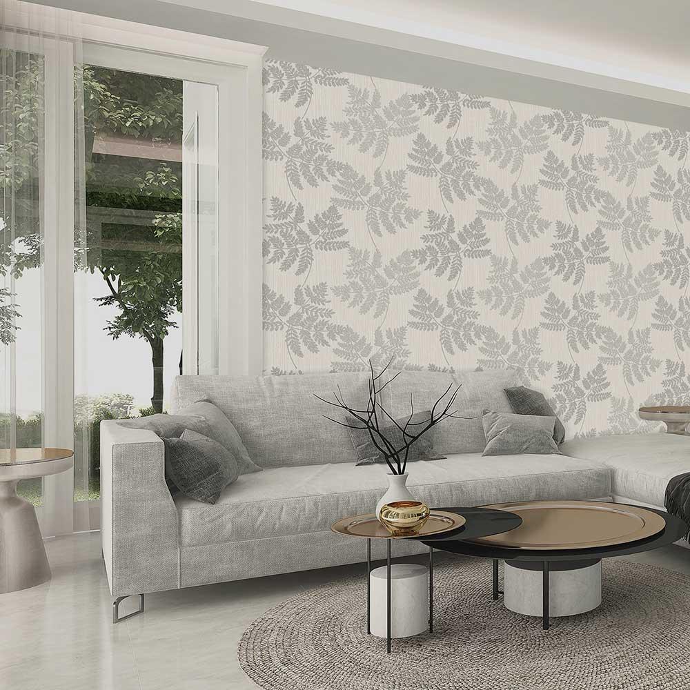 Amara Leaf Wallpaper - Soft Silver - by Albany