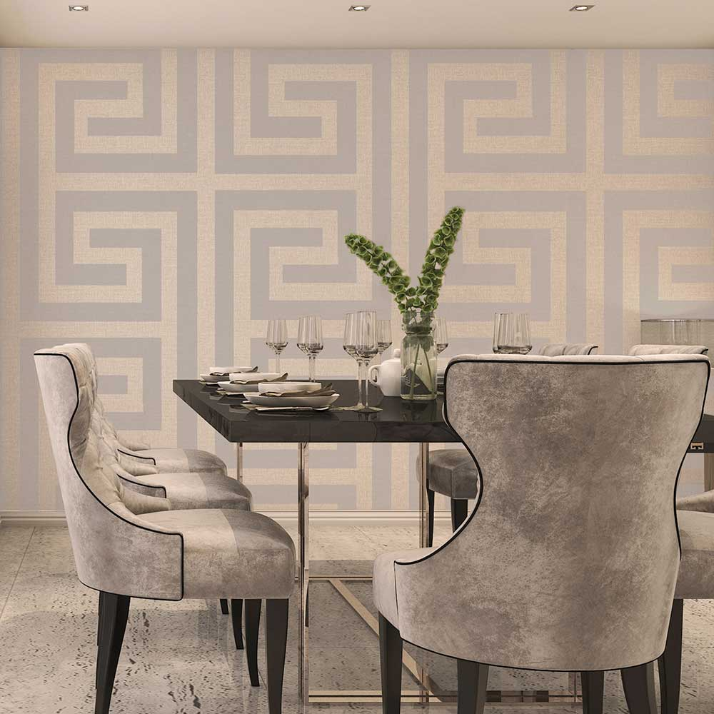Giorgio Greek Key Wallpaper - Beige - by Albany