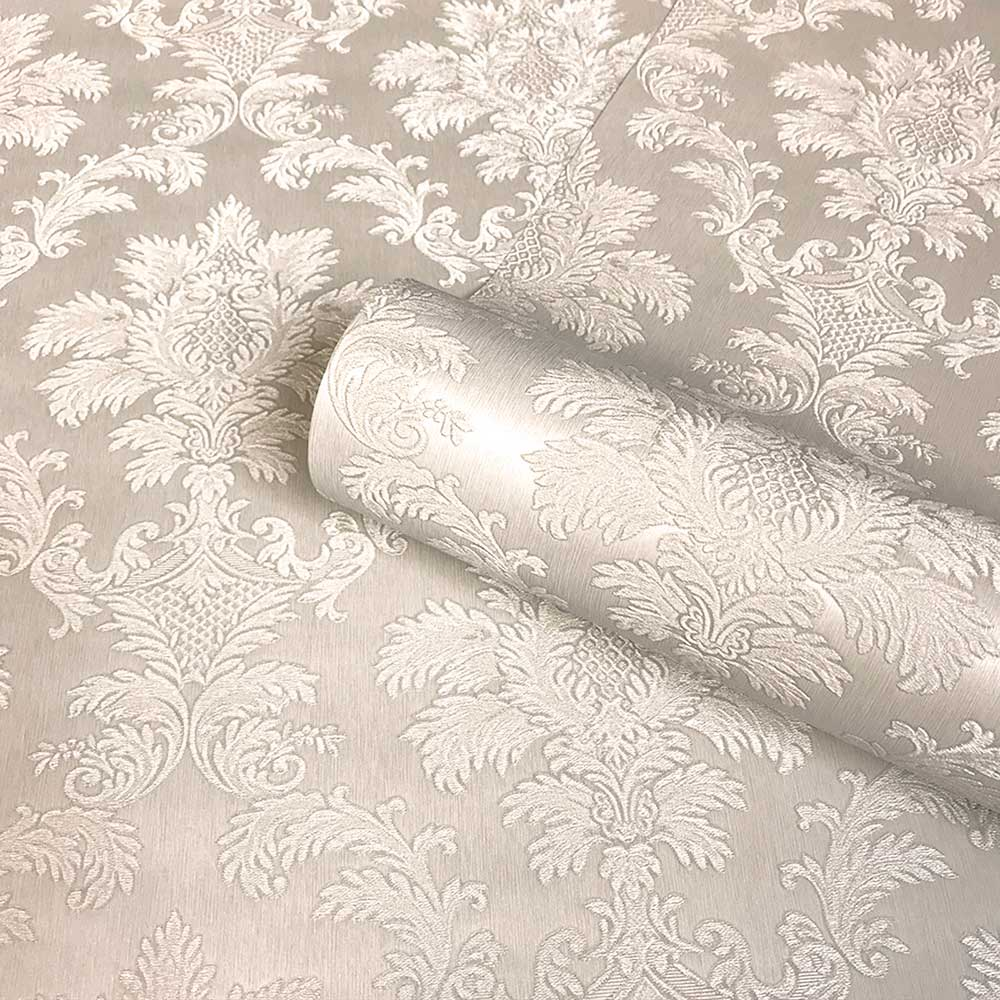 Tilly Damask Wallpaper - Beige - by Albany