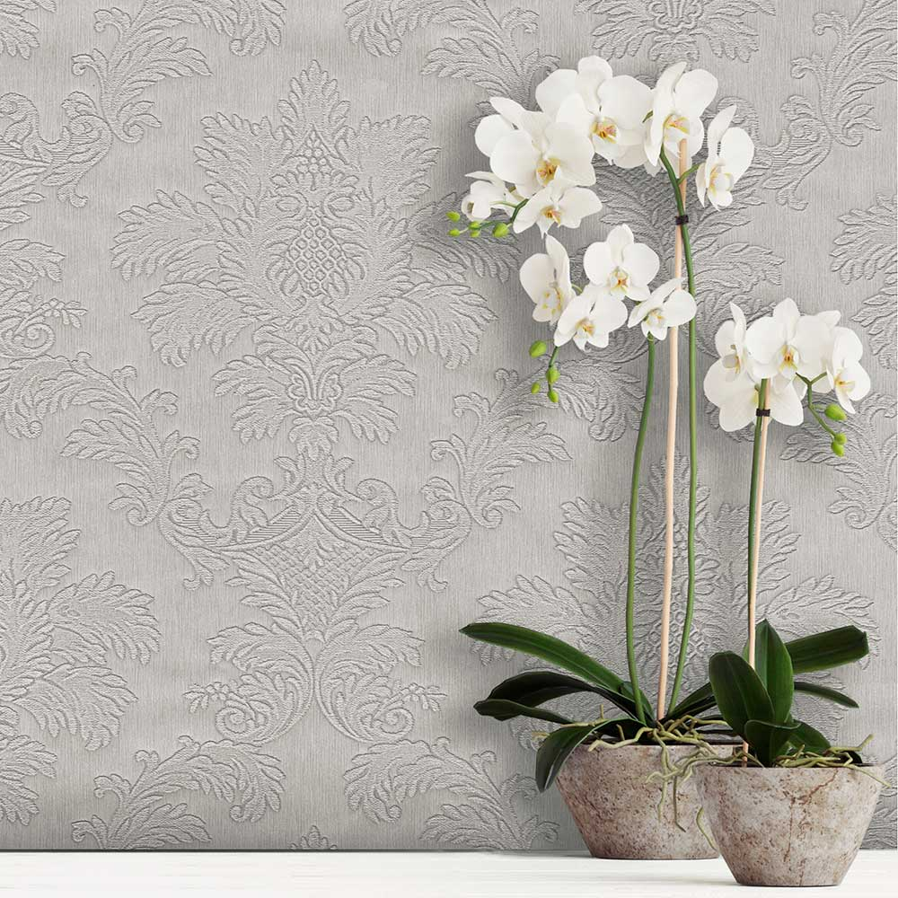 Tilly Damask Wallpaper - Silver - by Albany