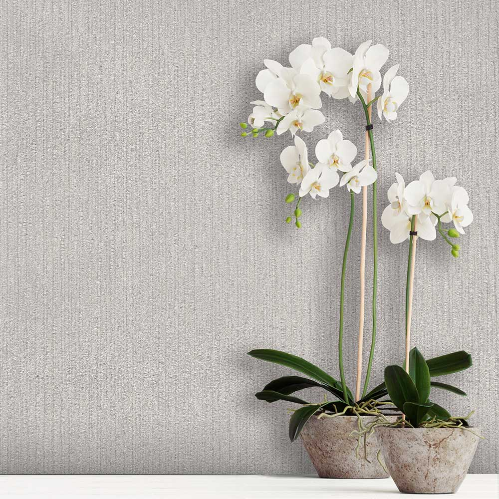 Tilly Texture Wallpaper - Silver - by Albany