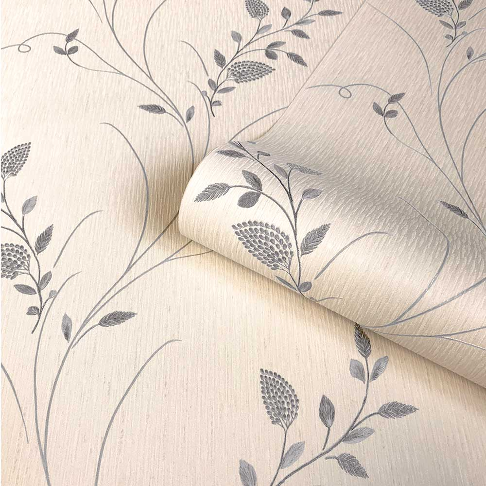 Tilly Trail Wallpaper - Silver - by Albany