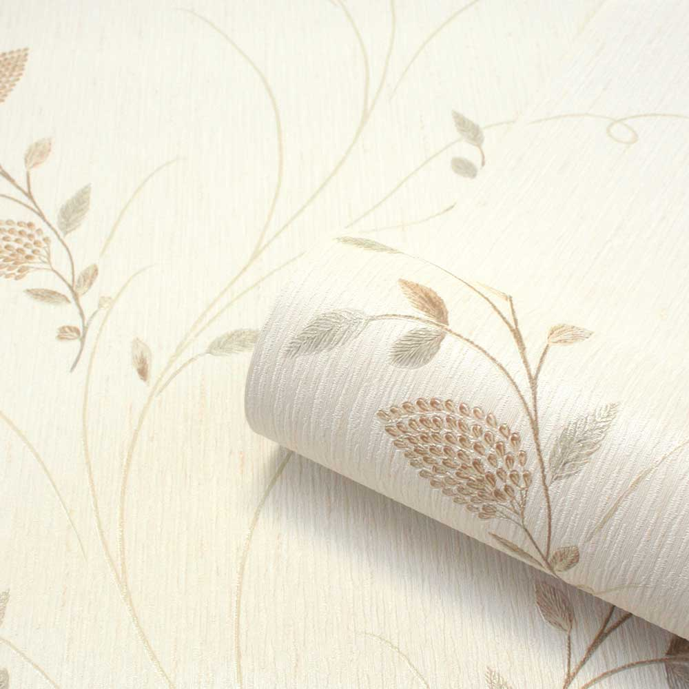 Tilly Trail Wallpaper - Cream / Green - by Albany