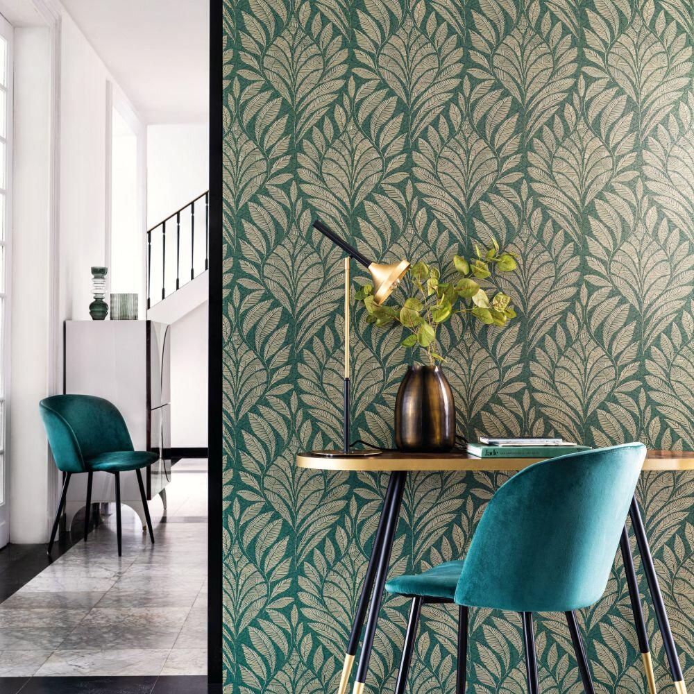 Gustav Wallpaper - Vert Anglais - by Casamance