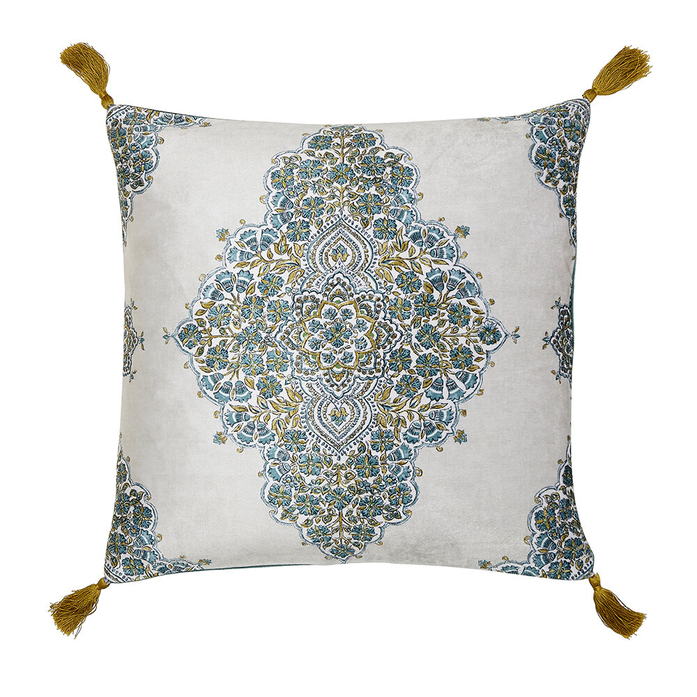 Andhara Cushion - Teal and Linen - by Sanderson