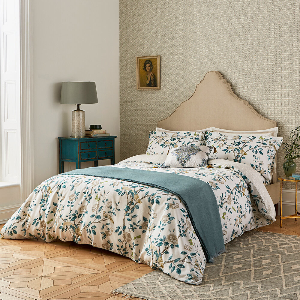 Andhara Duvet Cover - Teal and Cream - by Sanderson