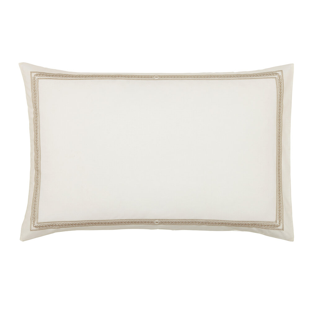 Andhara Pillowcase Pairs - Taupe and Cream - by Sanderson
