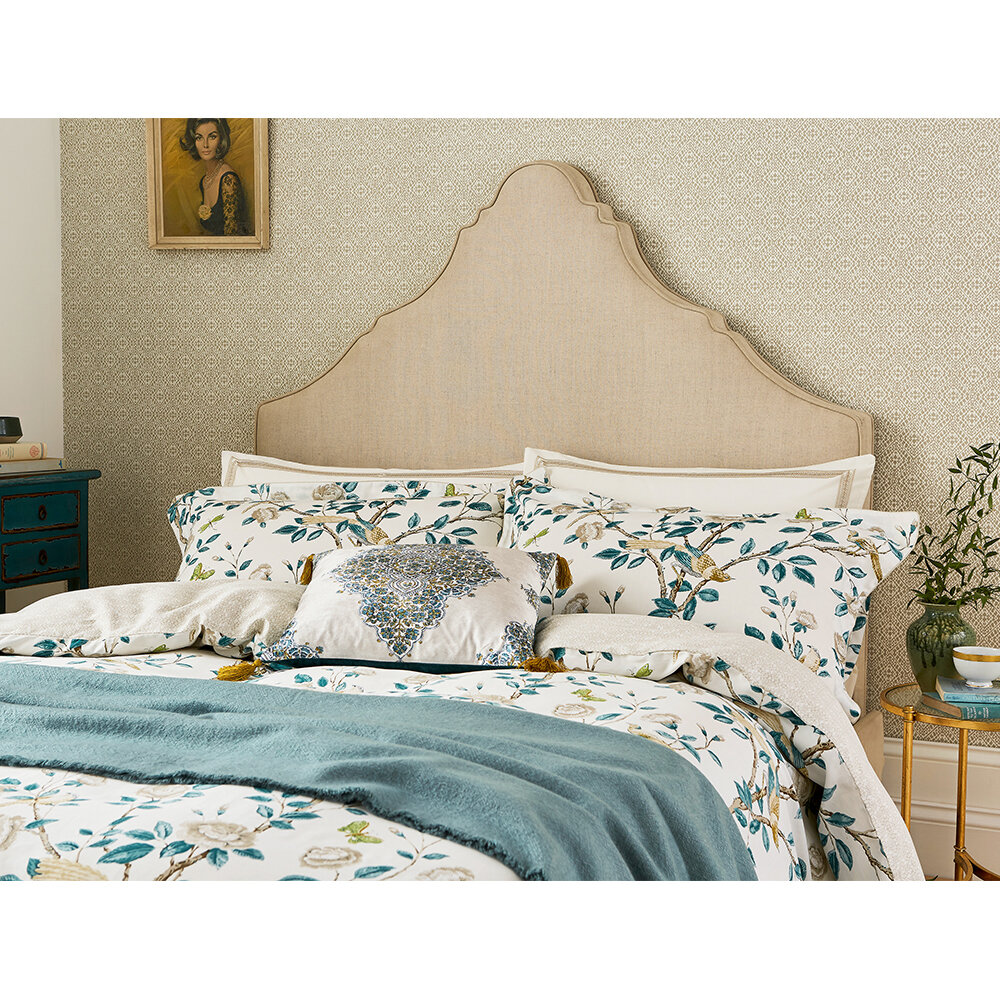 Andhara Oxford Pillowcase  - Teal and Cream - by Sanderson