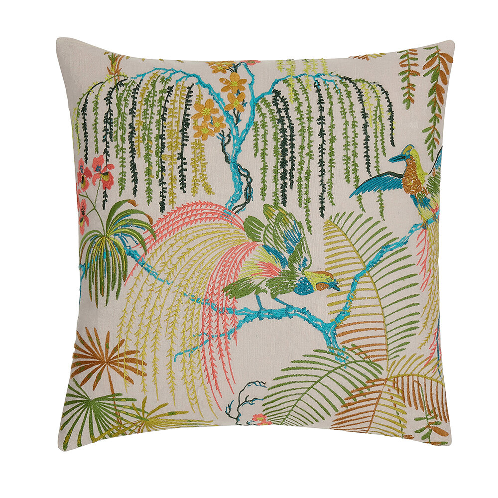 Palm House Cushion - Rainforest and Linen - by Sanderson
