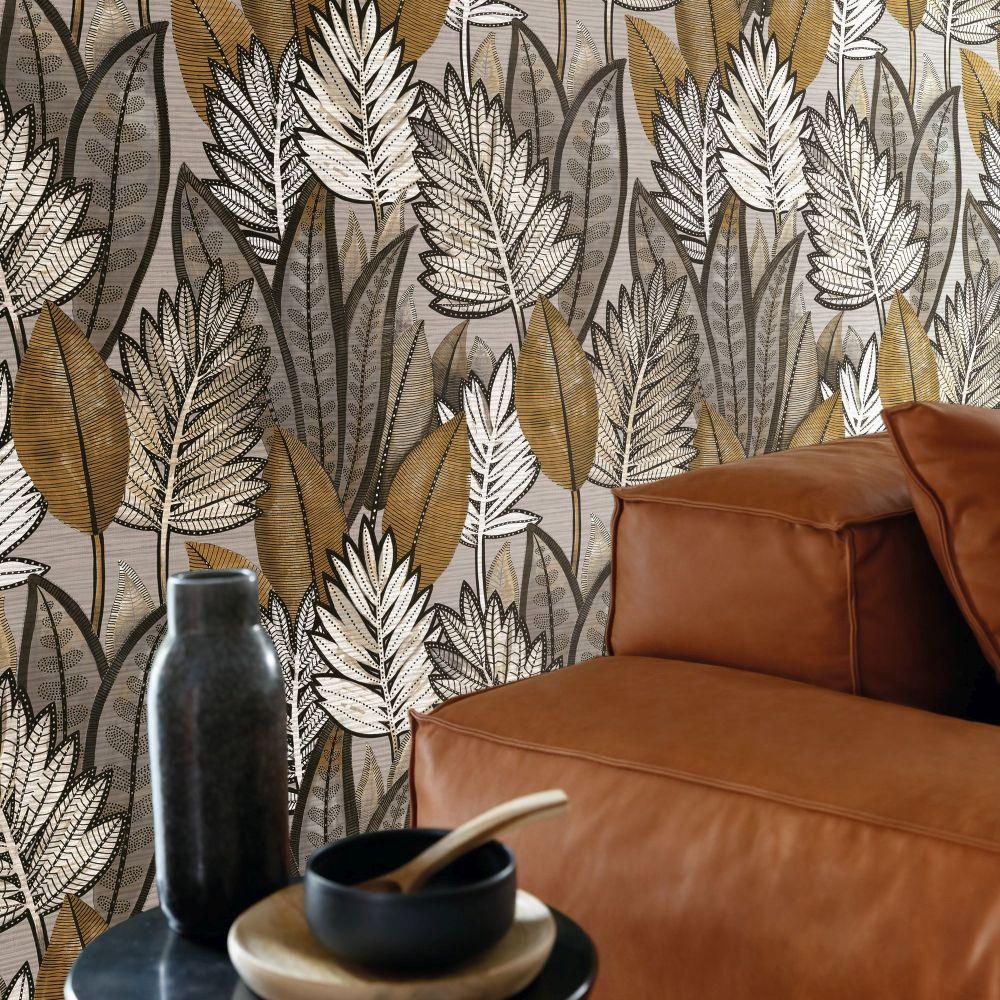 Sabal Wallpaper - Taupe - by Casamance