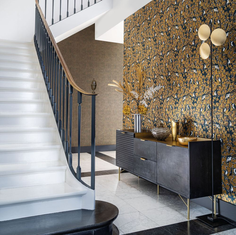 Majolica Wallpaper - Ambre / Anthracite - by Casamance