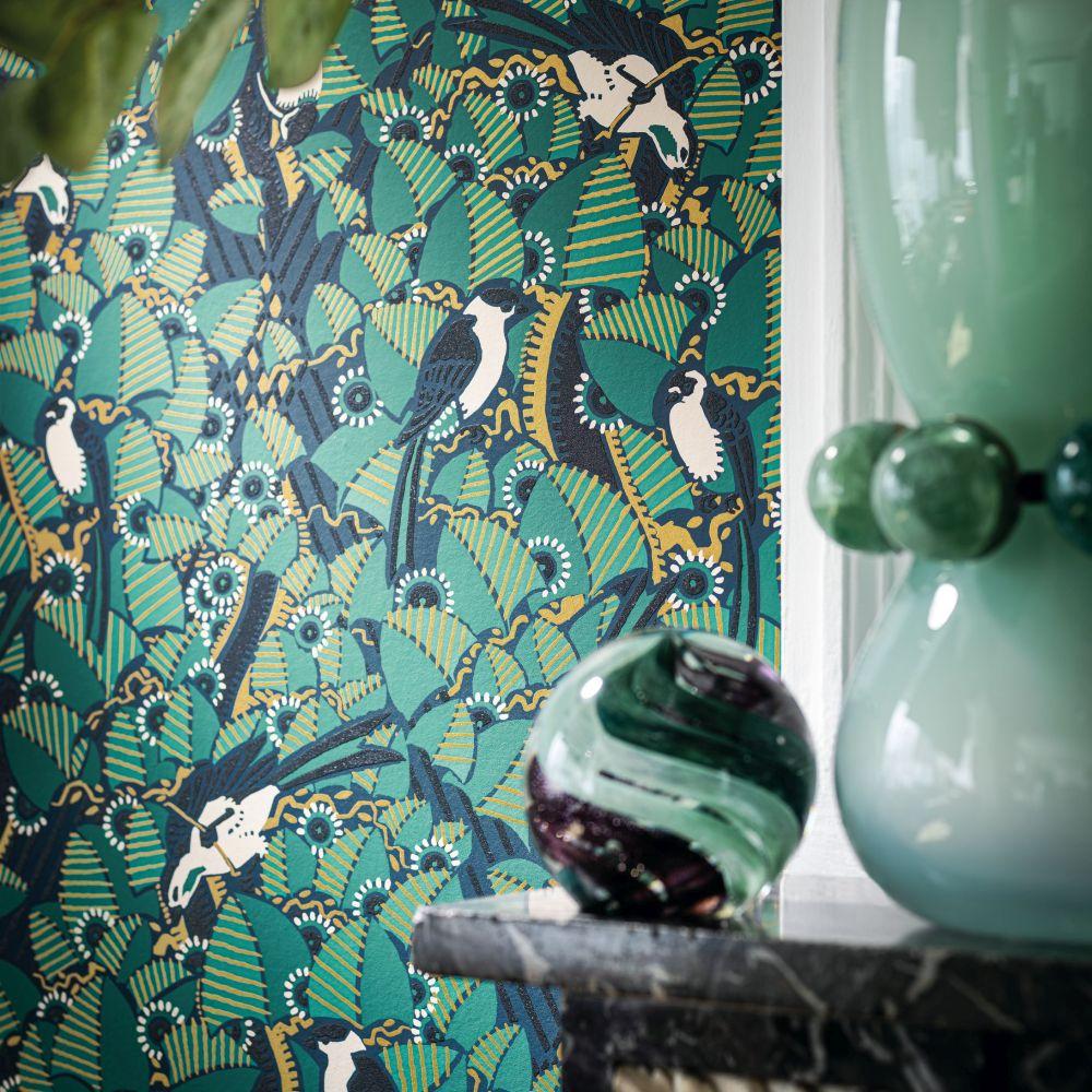 Majolica Wallpaper - Marine / Emeraude - by Casamance