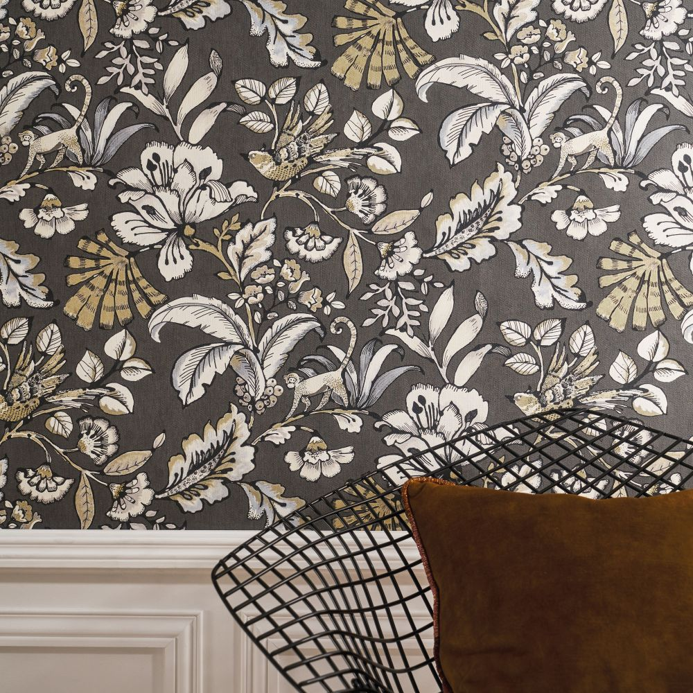 Paiony Wallpaper - Anthracite - by Casamance