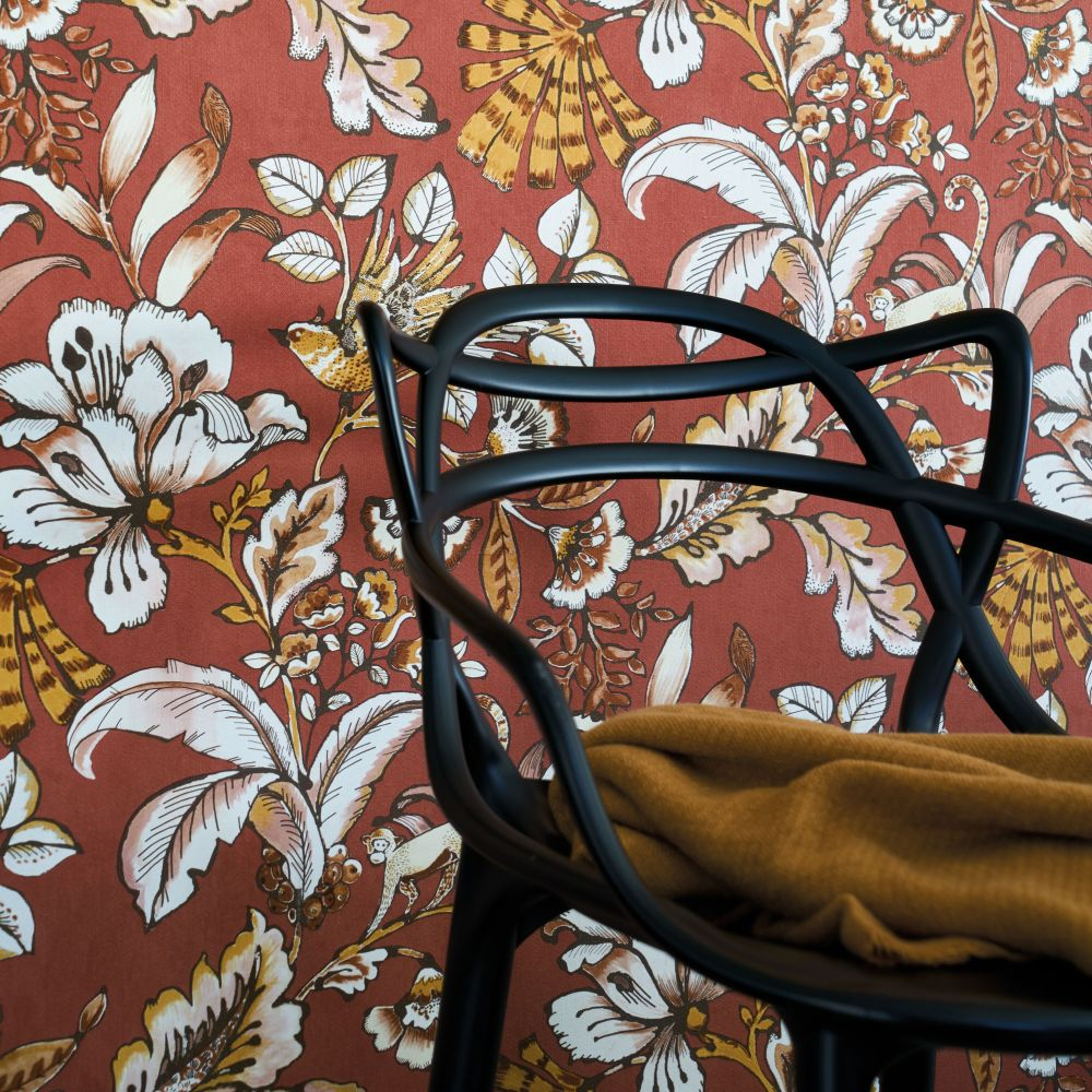 Paiony Wallpaper - Rouge - by Casamance