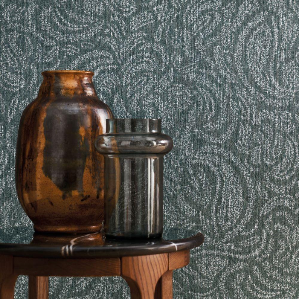 Jaipur Wallpaper - Bleu Gris - by Casamance