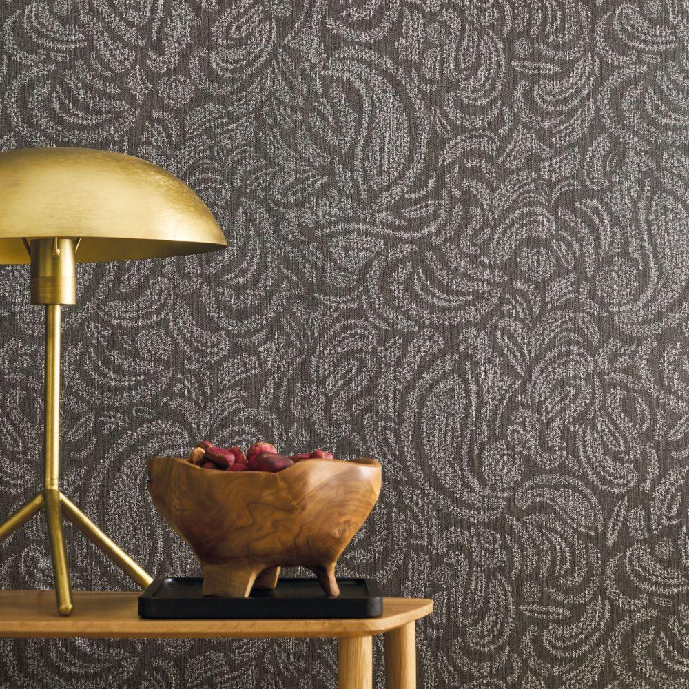 Jaipur Wallpaper - Noir - by Casamance