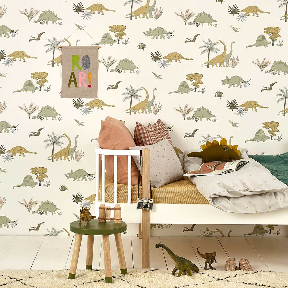 Dinosaurs Wallpaper - Jurassic Grey / Olive - by Hibou Home