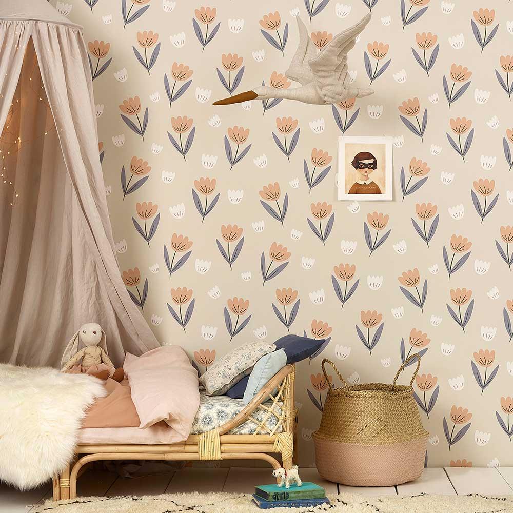 Fleur Wallpaper - Peach / Dusky Blue - by Hibou Home