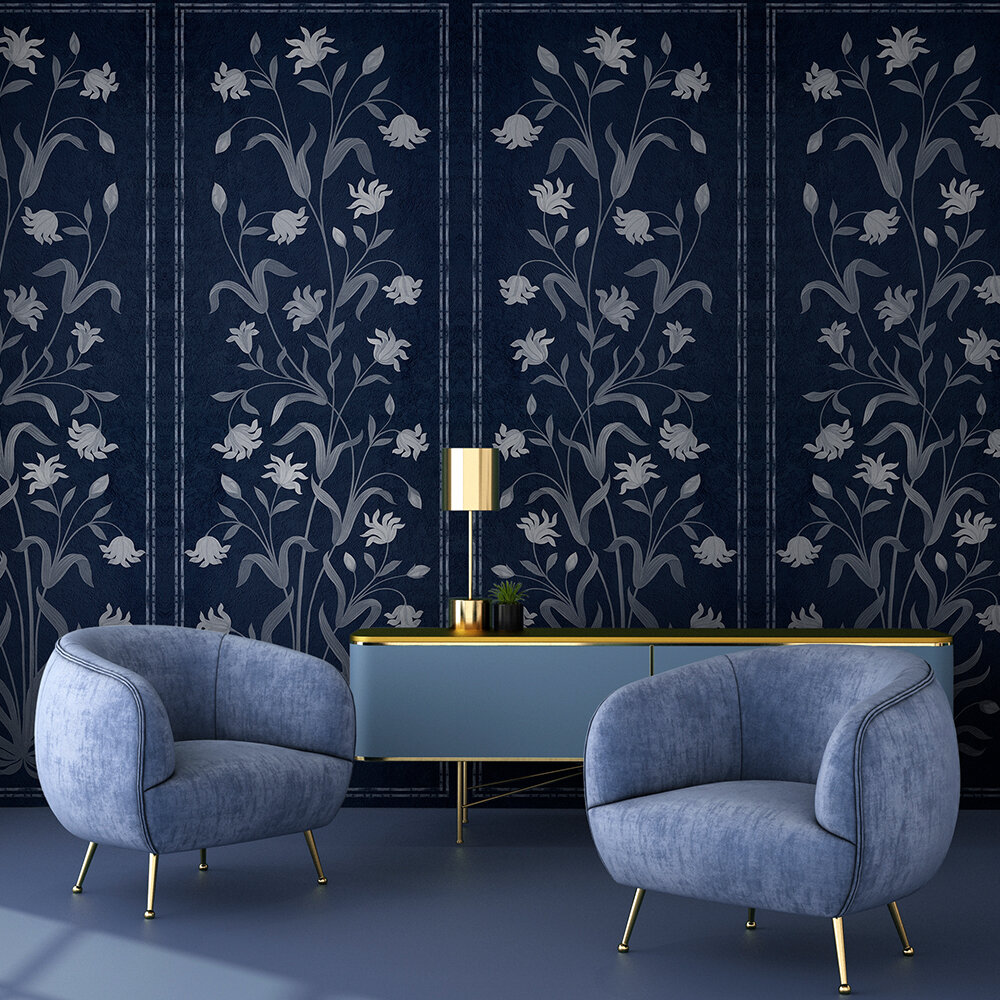 Daffodil Mural - Navy - by Coordonne