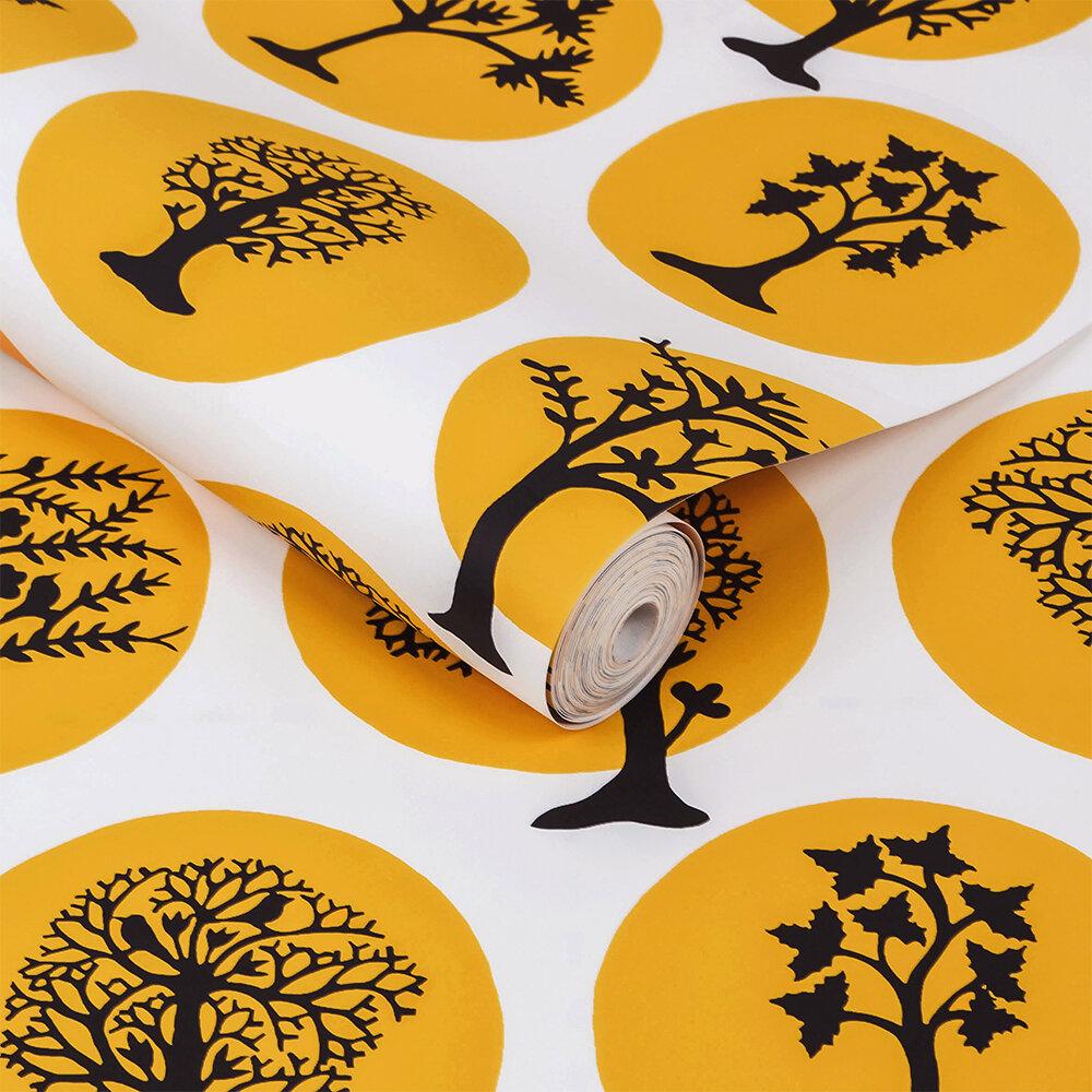 Party Land Wallpaper - Mustard - by Sacha Walckhoff x Graham & Brown