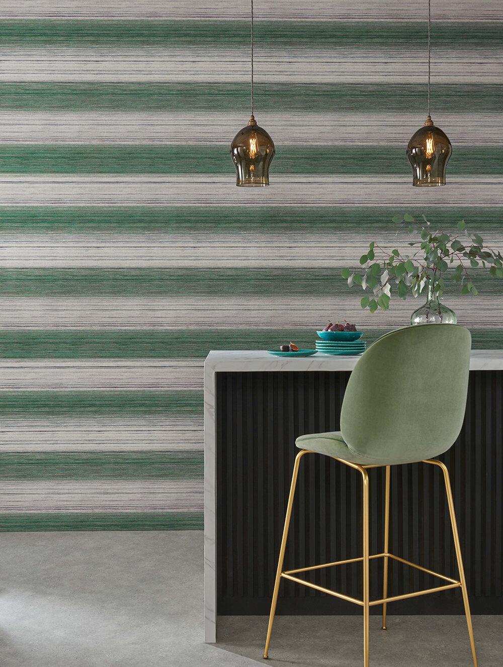 Kozo Stripe Wallpaper - Peppermint - by Osborne & Little
