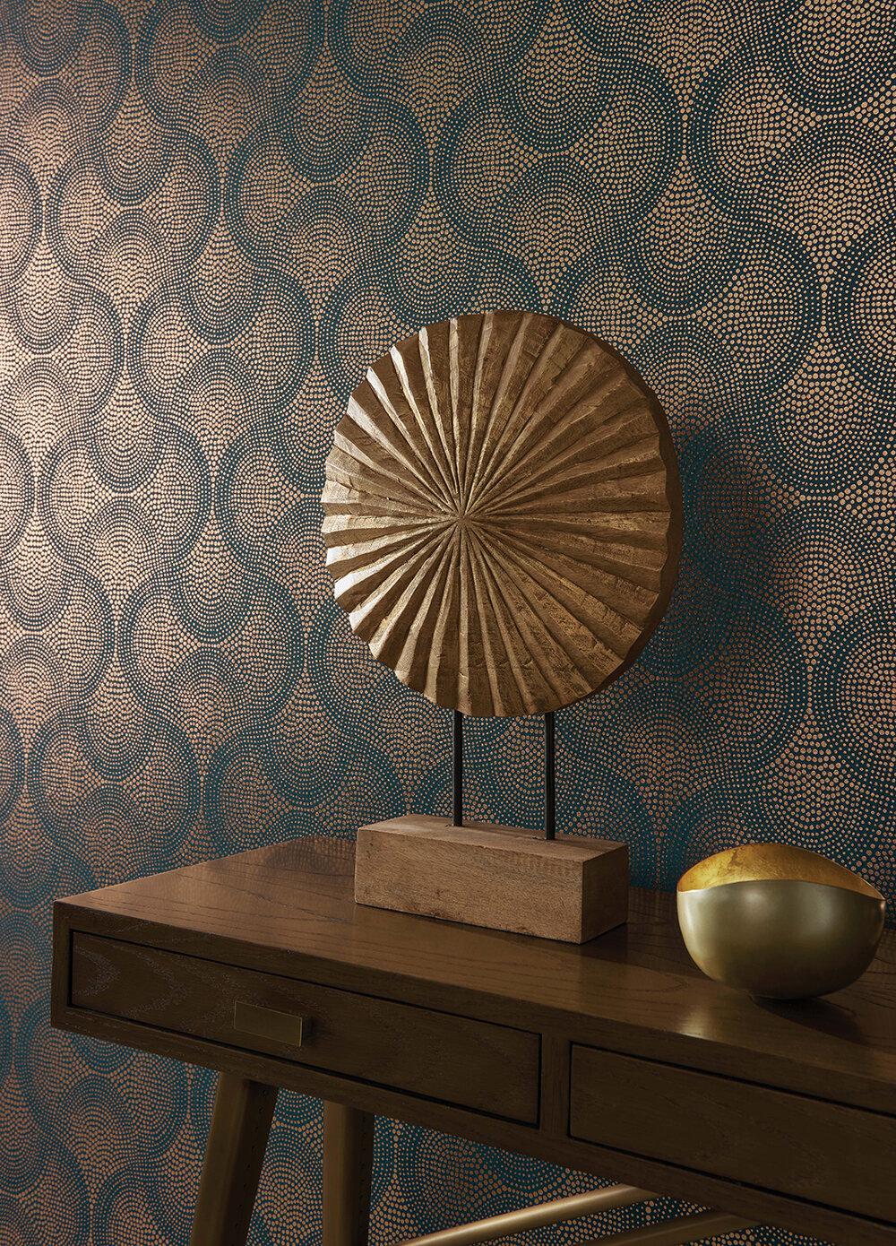 Uroko Wallpaper - Teal/ Copper - by Osborne & Little