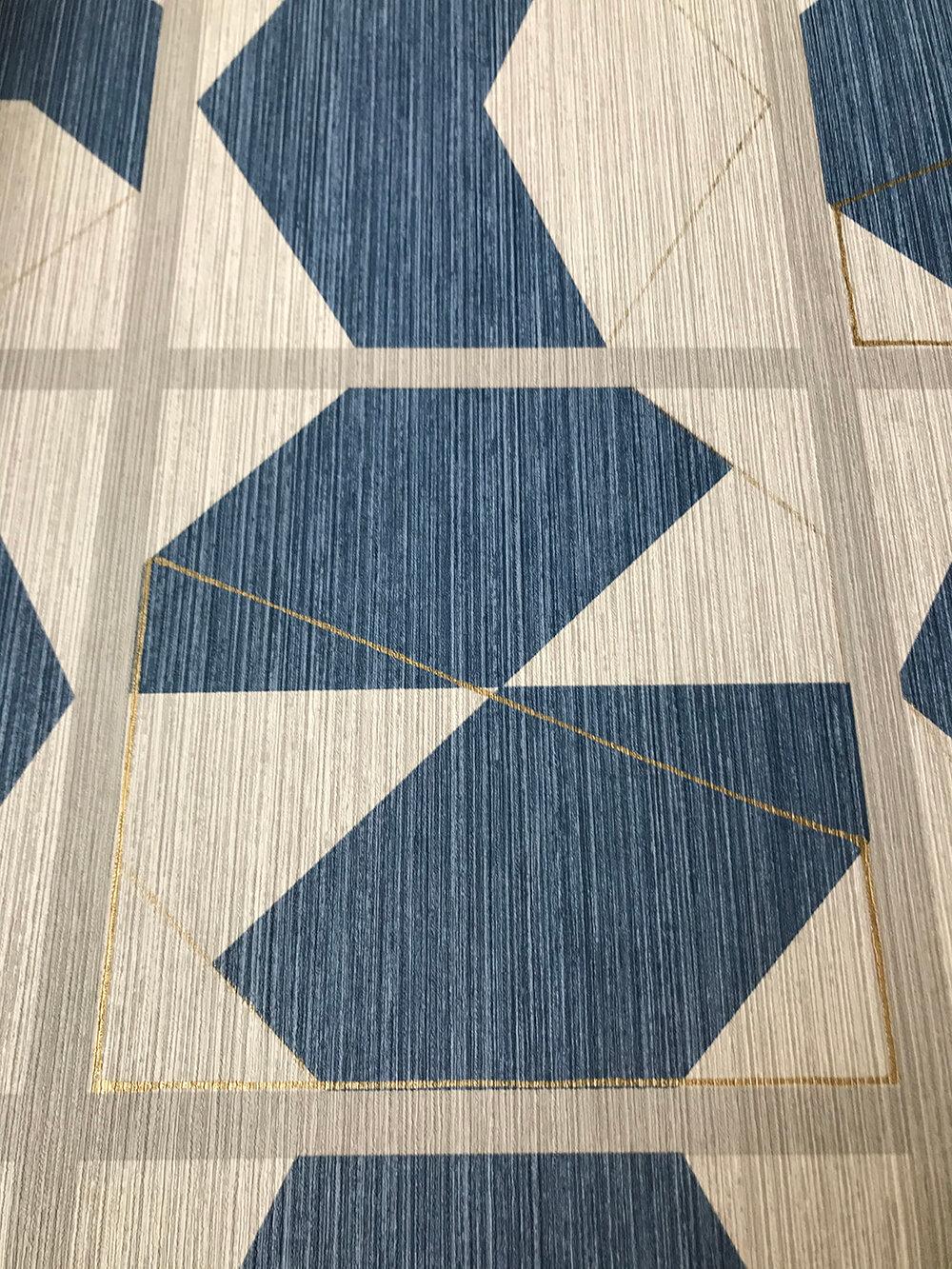 Kutani Vinyl Wallpaper - Indigo/ Ivory - by Osborne & Little