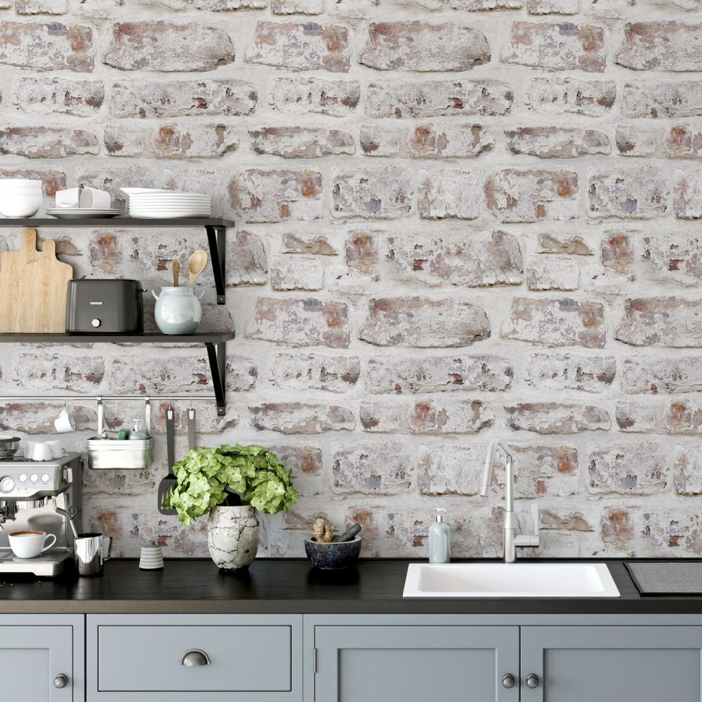 Washed Wall Wallpaper - White - by Arthouse