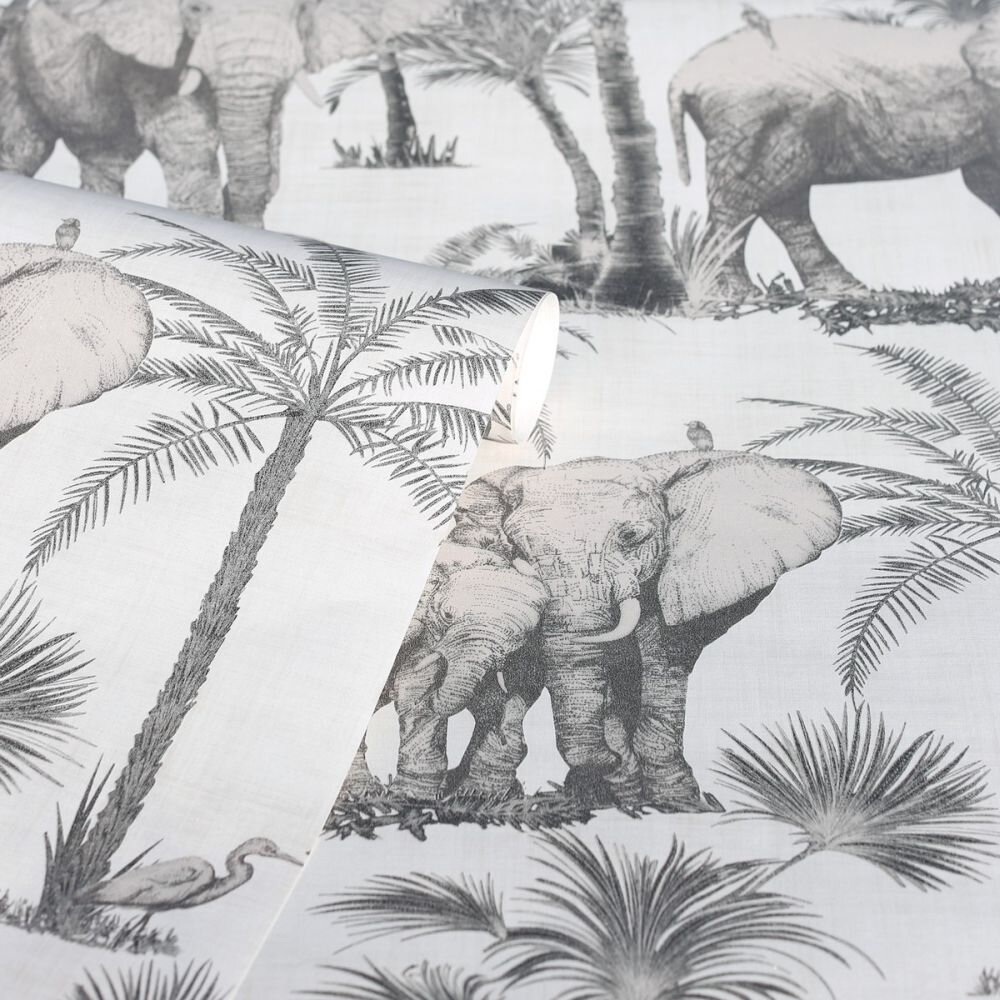 Elephant Grove Wallpaper - Charcoal - by Arthouse