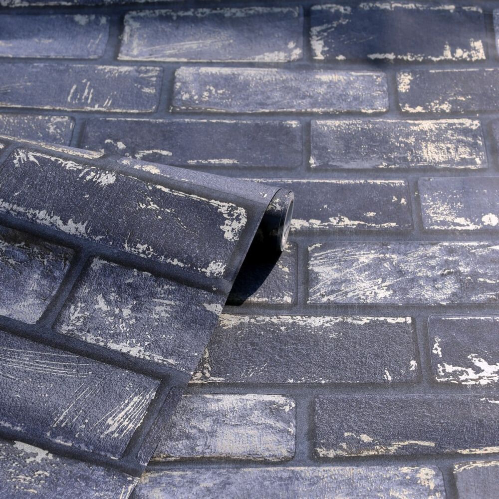Metallic Brick Wallpaper - Navy / Gold - by Arthouse