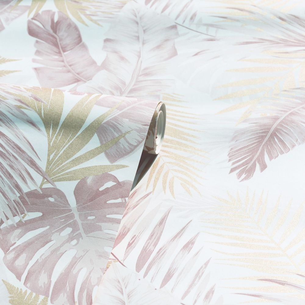 Soft Tropical Wallpaper - Blush / Gold - by Arthouse