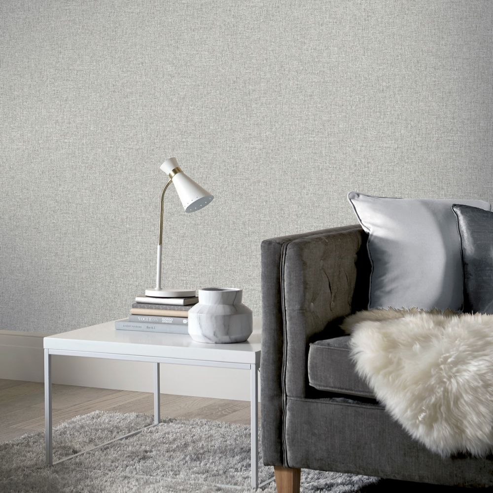 Linen Texture Wallpaper - Mid Grey - by Arthouse