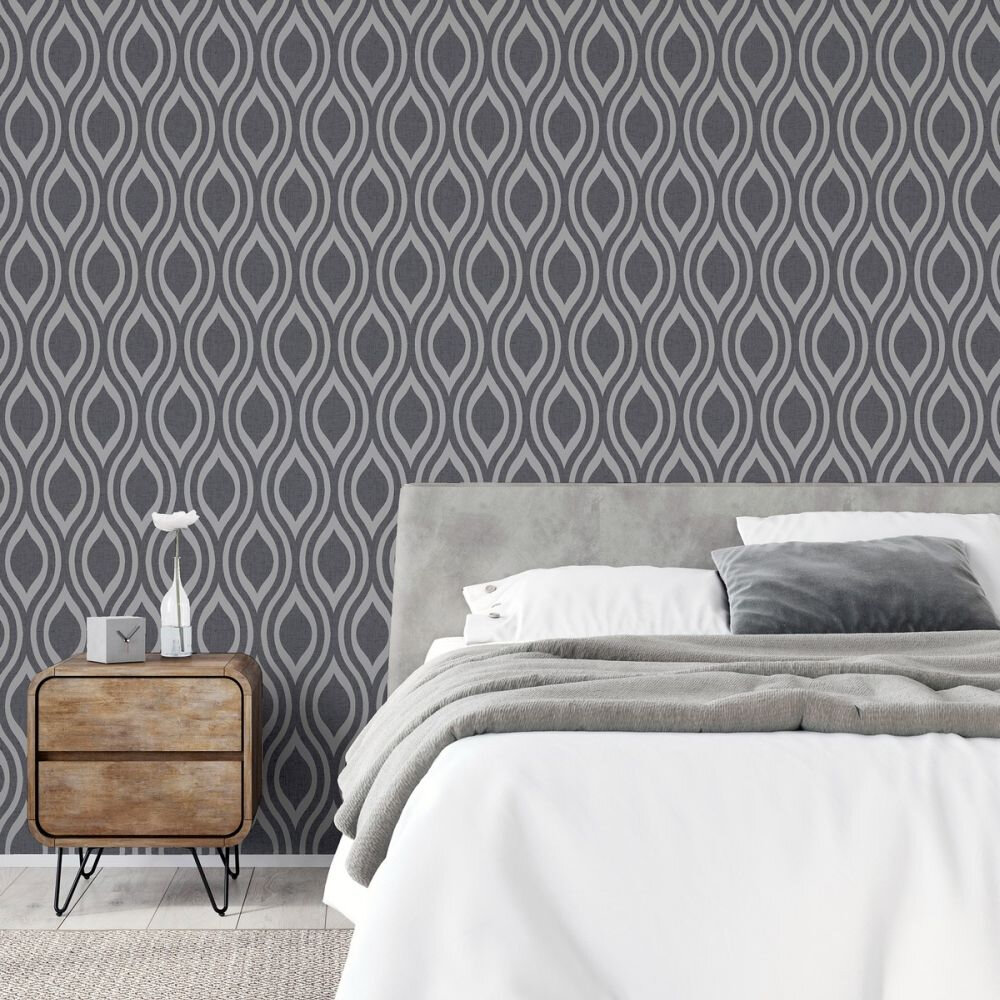 Luxe Ogee Wallpaper - Gunmetal Silver - by Arthouse