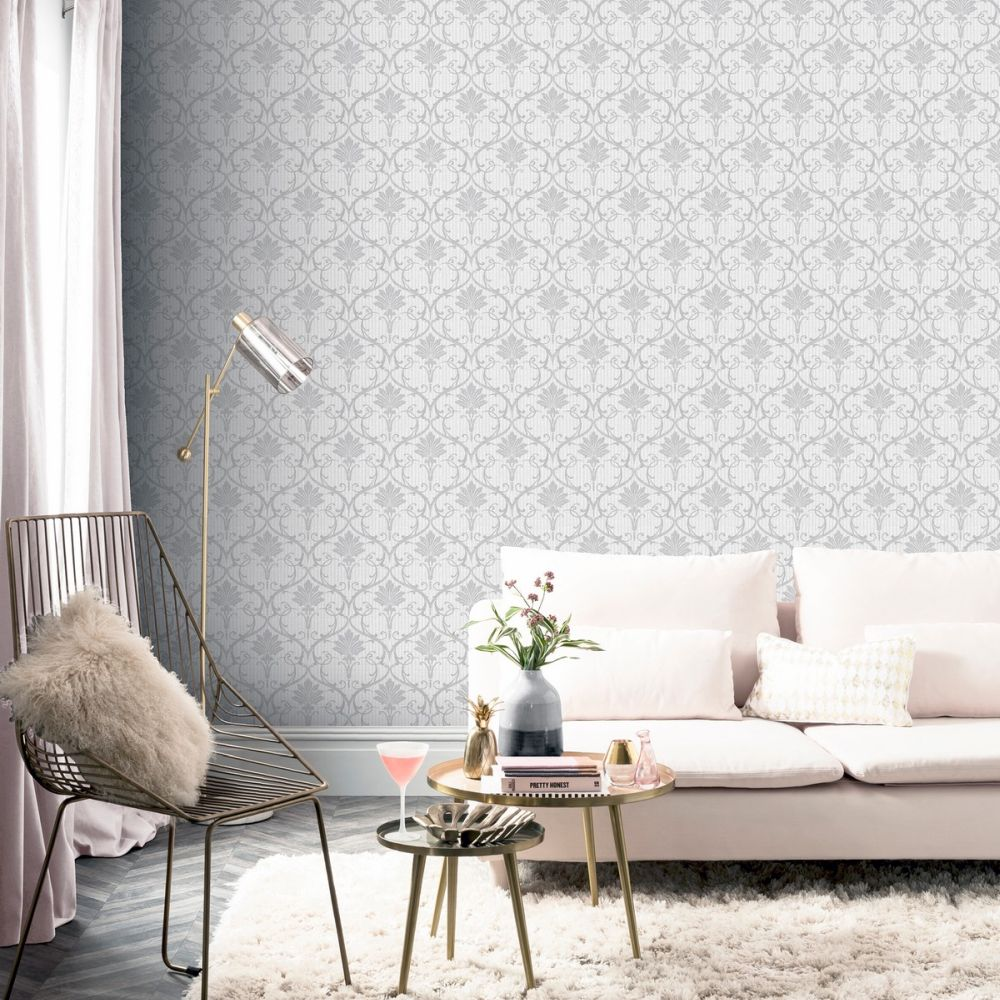 Divine Damask Wallpaper - Silver - by Arthouse