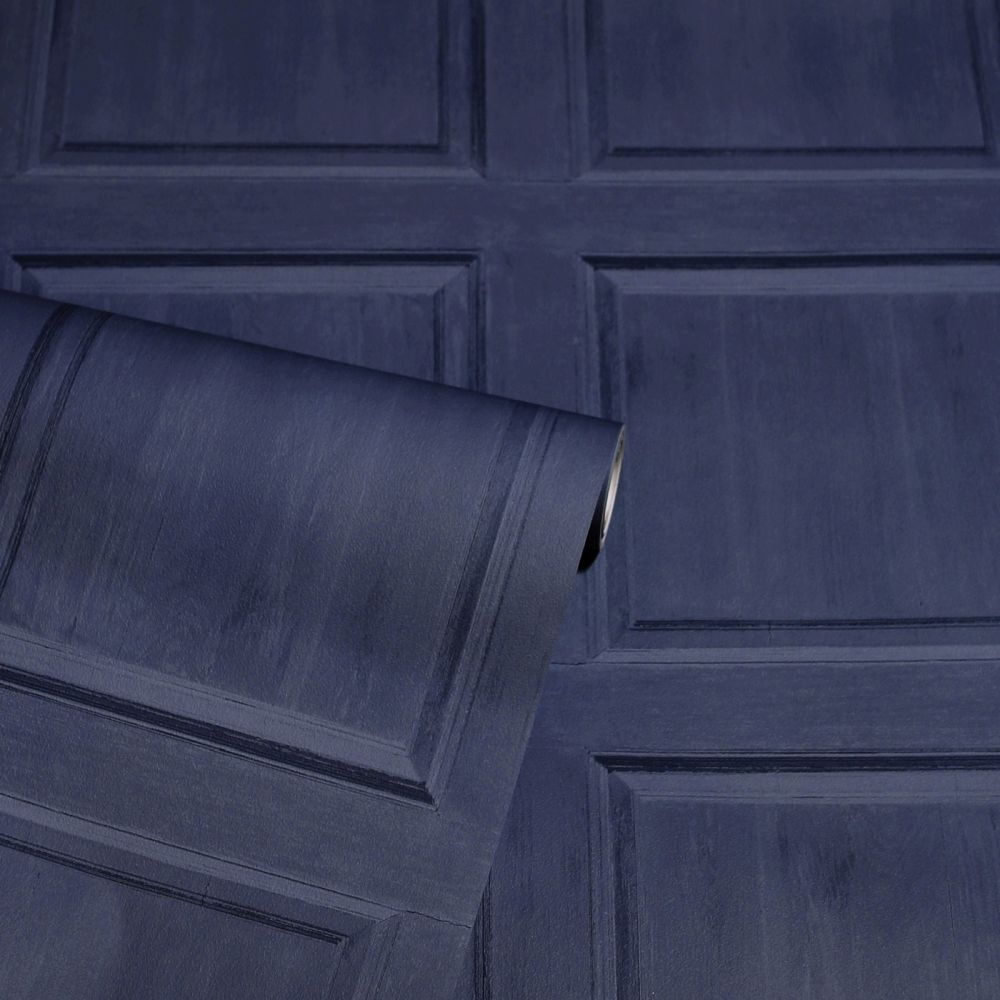 Washed Panel Wallpaper - Navy - by Arthouse