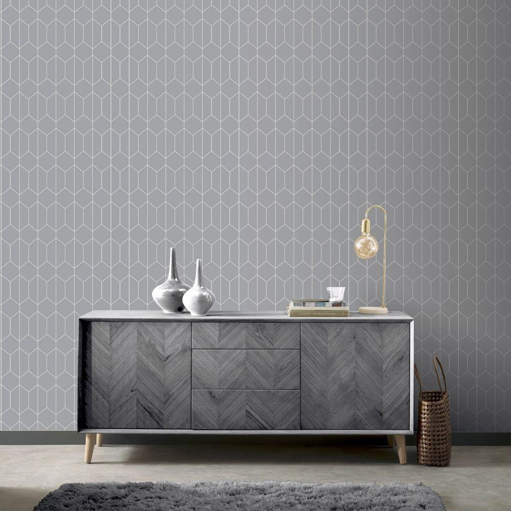 Linear Geo Wallpaper - Grey - by Arthouse