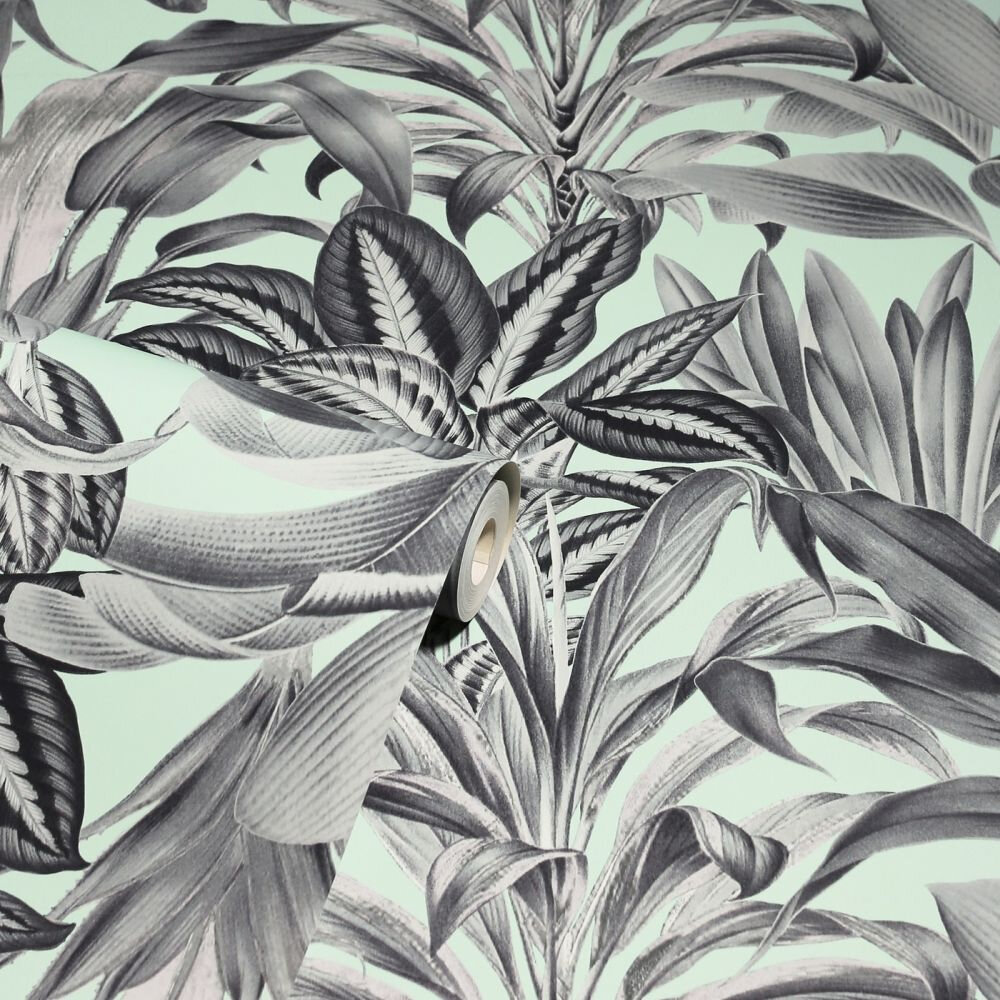 Greenhouse Plants Wallpaper - Mint - by Arthouse