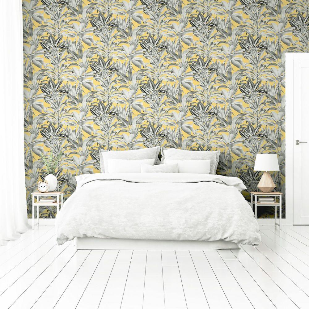 Greenhouse Plants Wallpaper - Ochre - by Arthouse