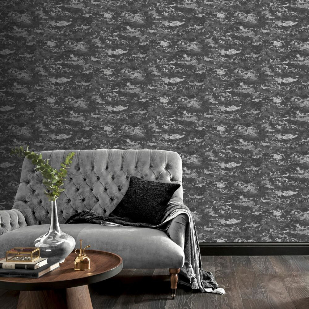 Patina Wallpaper - Charcoal / Silver - by Arthouse