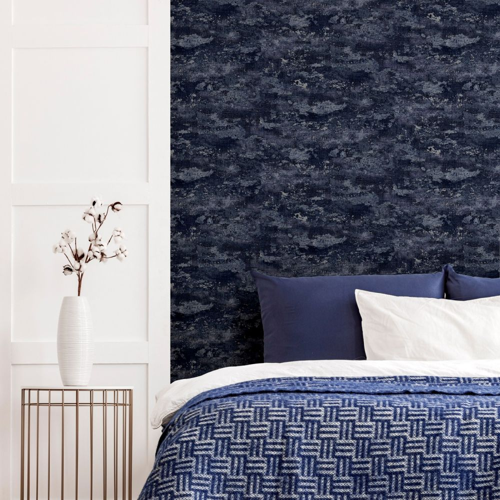 Patina Wallpaper - Navy / Silver - by Arthouse